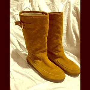 Coach Suede Tanesha midcalf boot fur Lined sz 8B